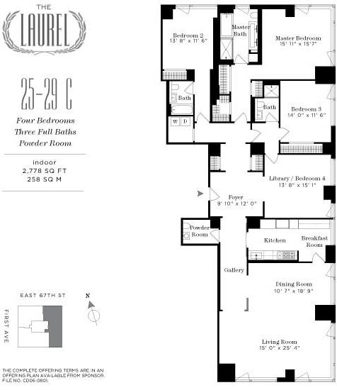 Laurel at 400 East 67th Street Apt. 25 C Floor Plan