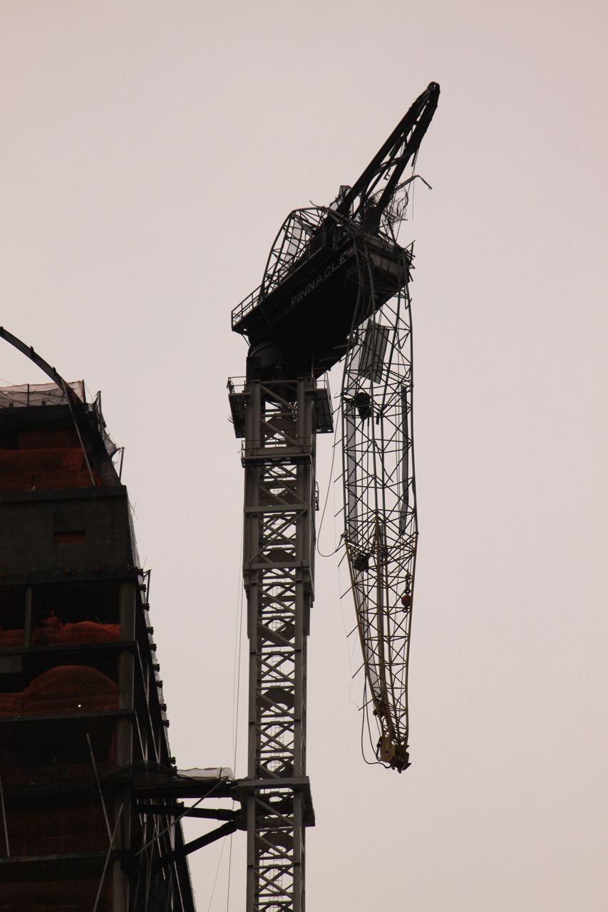One57's dangling partial collapsed crane
