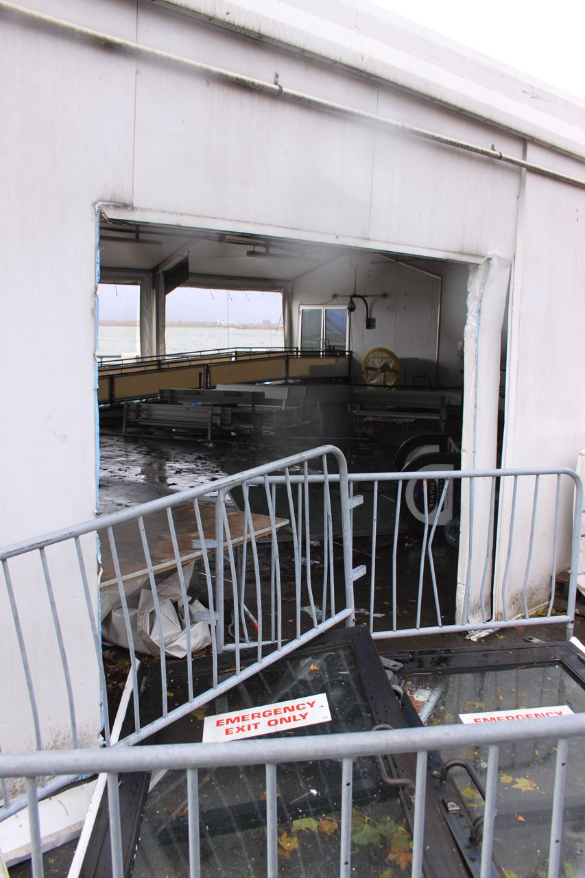 Tent of the Statue of Liberty ferry partial destroyed