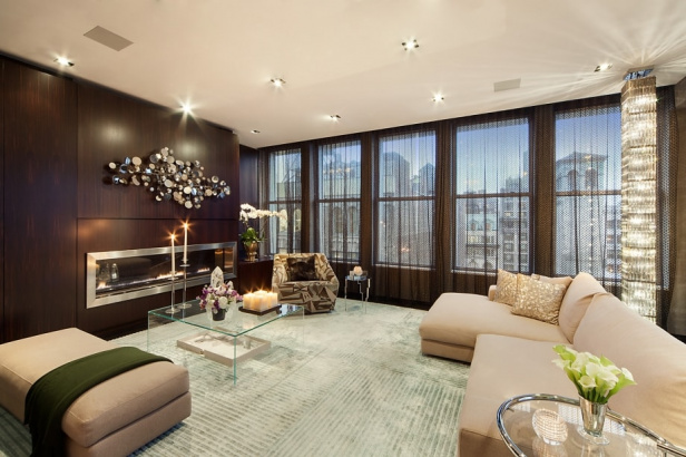 The penthouse at The Emory living room