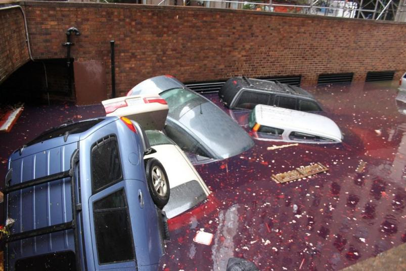 Swimming cars downtown after Hurricane Sandy