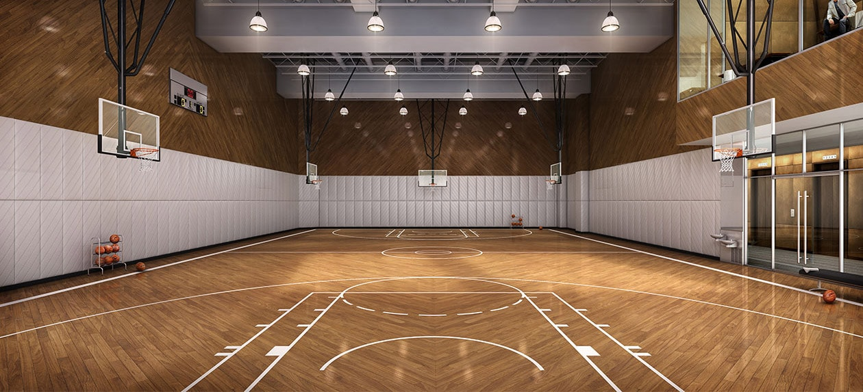 All nyc apartment buildings with basketball court for Indoor basketball court construction